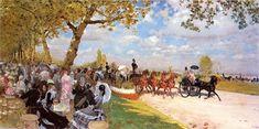 Giuseppe De Nittis (Italian 1846–1884) [Impressionism, Salon] Return from the Races, 1875.