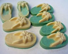 Green - White - Flip flop soap - glycerin soap - handcrafted soap - beach - sandals - flip flops - passionfruit - rose - wedding favor soap
