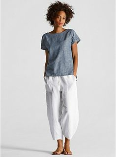 Slouchy Drawstring Cropped Pant in Organic Linen