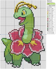 Pokemon - Meganium by Makibird-Stitching on deviantART Beaded Cross Stitch, Cross Stitch Charts, Cross Stitch Designs, Cross Stitch Embroidery, Cross Stitch Patterns, Rainbow Loom, Pokemon Cross Stitch, Kawaii Cross Stitch, Art Perle