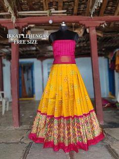 WhatsApp IkkatAdultLehenga for above body blouse height . Kids Blouse Designs, Kurta Designs Women, Designs For Dresses, Half Saree Designs, Lehenga Designs, Saree Blouse Designs, Kids Dress Wear, Dresses Kids Girl, Kids Outfits