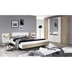 Schlafzimmer mit Bett 100 x 200 cm Pinie weiss/ Eiche antik Jetzt ...