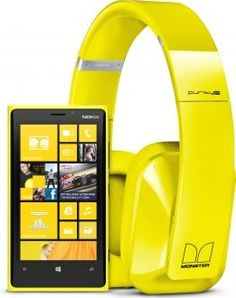 Yellow Nokia Lumia 920 with Monster Nokia Purity Pro Wireless Stereo Headset Yellow