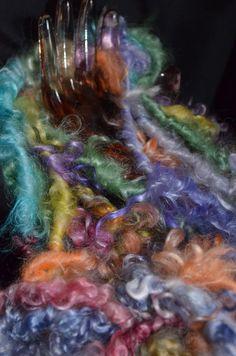 Handspun art yarn silky angora goat locks yarn by pamsfiber, $18.00