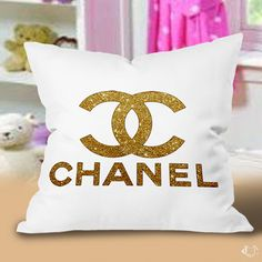 Gold coco Chanel Logo Pillow Cases