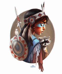 ArtStation - Girls of the World, Lera Kiryakova Native Girls, Native American Girls, American Indian Art, American Women, American Indians, Cartoon Kunst, Cartoon Art, Character Illustration, Illustration Art