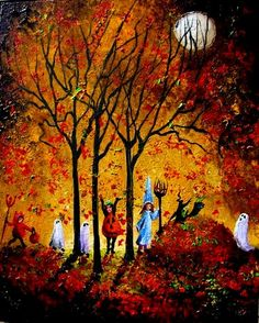 Halloween Kids in the Falling Leaves/Lizzy Rainey Retro Halloween, Halloween Kunst, Halloween Artwork, Halloween Scene, Halloween Painting, Halloween Prints, Halloween Pictures, Halloween Wallpaper, Halloween Horror