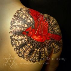 "Tattoo By Mike Amanita CARDINAL MANDALA :D my name ""anita"" is even in the artist's name 