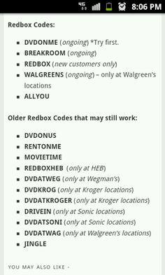 21 Best <b>redbox codes</b> images   Free <b>redbox codes</b>, Movie rentals ...