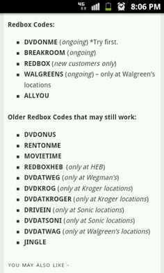 Red box codes for 2013... friend at Walmart says they really work