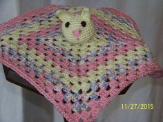 Bunny Rabbit security blanket-crochet, yellow, pink and yellow, pink, purple and blue ombre by MadeinMassachusetts on Etsy