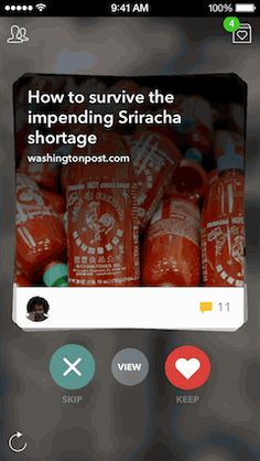 [Animated GIF] Card Stack Navigation with Swipes - Messaging Meets The News — Building Potluck — Medium