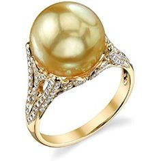 11mm Golden South Sea Cultured Pearl & Diamond Gabriella Ring in 18K Gold - AAA Quality
