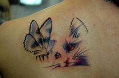 Risultati immagini per cat butterfly tattoo