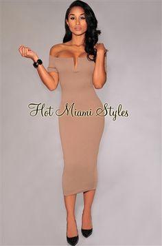 Mocha Textured Off-The-Shoulder Midi Dress.