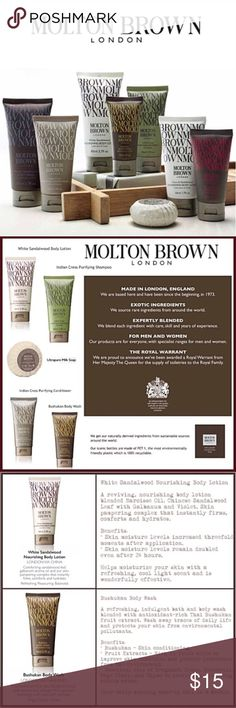 New Molton Brown Luxury Bundle Set!! Men & Women 50+ Value. New High-End Sealed Bundle of Five Large Deluxe 1.7oz Pieces consists of fruit extracts, milk & oils  1) Indian Cress Shampoo-Encourages healthy hair growth 2) Indian Cress Conditioner-Detangles, Strengthens for Shiny & Healthy Hair 3) White Sandalwood Body Lotion-Hydrates for smooth Skin 4) Bushukan Body Wash-Antioxidant Skin Conditioner 5) Ultra Pure Milk Soap 1.76oz-Natural skin Conditioner made w/oils & milk  travel jetsetter…