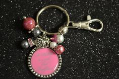 A Mother Is a Girls First Bestfriend Pink and Grey Bezel Pendant Key Chain, Keychain, Gift, Mothers Day, Wedding  $8.00