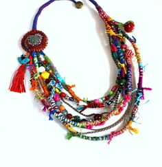 Sweet Crazy II. Fiber beads colorful multi strand