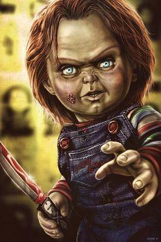 "Horror Movie Art : Child's Play 1988 ""Chucky"" by Eddie Holly Horror Icons, Horror Films, Horror Art, Horror Movie Characters, Horror Movie Posters, Chucky Tattoo, Chucky Movies, Childs Play Chucky, Bride Of Chucky"