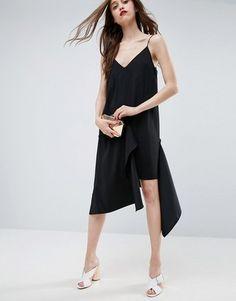 ASOS Raw Edge Asymmetric Hem Cami Dress #prom