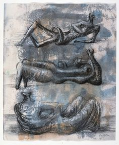 Three Reclining Figures 1976 Page from Red Notebook 1976 HMF 76(8) pencil, wax crayon, watercolour, crayon on cream lightweight wove 254 x 175mm photo: The Henry Moore Foundation archive, Menor Creative Imaging