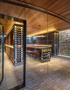 Climate controlled wine cellar area.