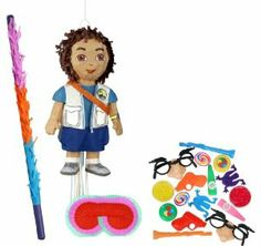 """Go Diego Go Pull-String Pinata Party Pack Including Pinata, Filler Favors, Buster and Blindfold by Unique. $46.04. Includes Go Diego Go Pull-String Pinata. Includes 64 Party Favors that includes tops, yo-yos, toy guns, kazoos, mazes and more in assorted colors. Caution: for children 3 years and up. Includes one hard Plastic Pinata buster that measures approximately 30"""". Caution: use only under adult supervision. Includes one Blindfold with Elastic String. Measures 7""""..."""