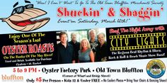 March 12: Shuckin' & Shaggin' hosted by the Old Town Bluffton Merchants Society in Oyster Factory Park, 5-9 p.m. Oyster Roast with food and drinks available for purchase, live music from City Lights and Shag dancing. 109 Bridge Street. www.oldbluffton.com #SCLowcountry #BlufftonSC #ShuckinandShaggin #diSCover