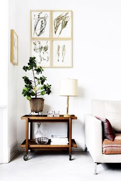 Barcart in the corner :) Tour a Cool Copenhagen Home That Nails the High-Low Mix via @MyDomaine