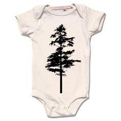 Natural Organic cream HEMLOCK Bodysuit for infants and baby, single black hemlock tree screenprint. $28.00, via Etsy.