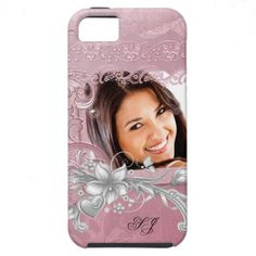 iPhone 5 Photo Pretty White Damask Pink Floral iPhone 5 Case