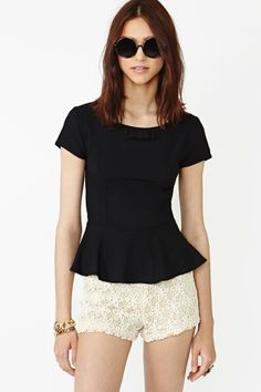 plain peplum top with lace go perfect. wear it on a casual occasion or out to a classy dinner! TRY IT!!