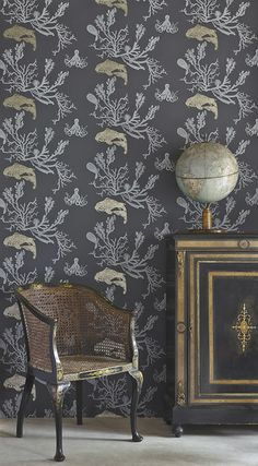 Coral wallpaper (charcoal / gold)