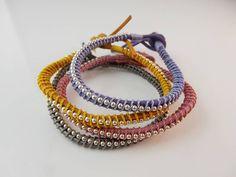 Leren armband met zilver en zijde. Handgemaakte sieraden. Echt leer en sterling zilver www.luxesjewelry.nl ook te volgen via Facebook: Luxes Jewelry
