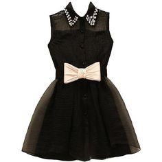 Bow Billionaire Dress ($120) ❤ liked on Polyvore featuring dresses, peter pan collar dress, bow dress, jeweled dress, yoke dress and sheer yoke dress