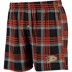 Anaheim Ducks Concepts Sport Playoff Plaid Knit Boxer Shorts - Black/Orange - $17.99