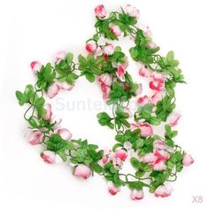 8X Artificial Silk Rose Flower & Leaves Garland Vine Wedding Party Garden Decor