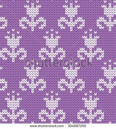 knitted seamless pattern flowers