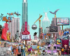 Art Print, Austin, Austin Art, Texas, Texas Art, Funny Art, Collage Art,Digital Art, Digital Art Print, 16x20 or 24x30, Gift by AndreaMDesigns on Etsy Digital Collage, Digital Art, Roller Derby Girls, Motorcycle Art, Collage Artists, Funny Art, Fun Prints, Dog Art, Vintage Images