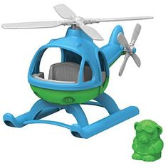 GreenToy Blue Helicopter Vehicle Pretend Play Boy Girl Kid Safe Funny In/Outdoor #GreenToys