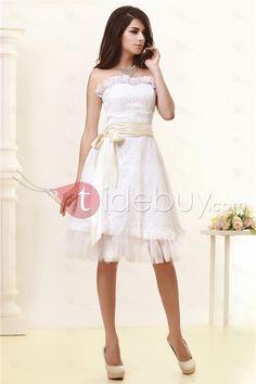 Aラインスウィートハートサッシュ膝丈ウェディングドレス安い