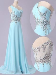 Simple Dress Hot-selling A-line Beading One-shoulder Illusion Back Light Sky Blue Long Chiffon Prom Dresses/Evening Dresses CHPD-7008