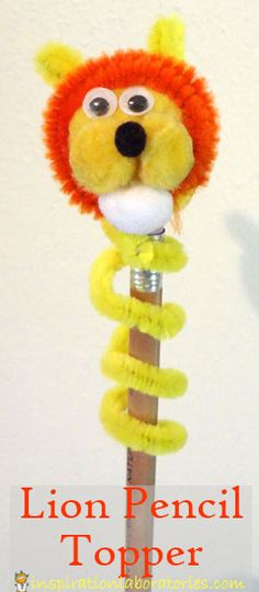 Make your own Lion Pencil Topper.  Inspired by The Lion and the Mouse ebook at @MeMeTales Children's Stories #readforgood