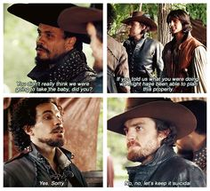 "The Musketeers - 1x06 - The Exiles, haha @ Athos' ""No, no, lets keep it suicidal."""