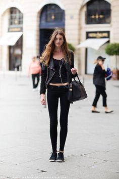 ★ //» #CristinaMantas rocking black skinnies #offduty in Paris.