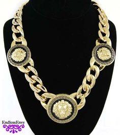 Gold & Black 3 Lion Head Pendant Cuban Link Chain Necklace Rihanna Hip Hop #Rihanna #Fashion #Jewelry #Style #Gold #Trending #HipHop #Glam #Envy #Endless