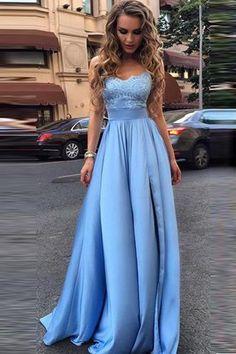 Elegant Sky Blue Prom Dresses Lace Side Slit A-line Evening Gowns