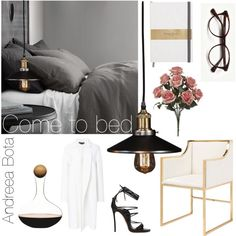 Come to bed... by andreea-bota on Polyvore featuring polyvore, interior, interiors, interior design, home, home decor, interior decorating, Worlds Away, Restoration Hardware, Sagaform, Rochas and Dsquared2