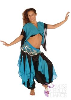 Bellydancing Costume Set | Harem Pants w/chiffon Flakes, Top & Hip Scarf| Turkish Twirl