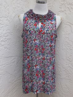CAbi size M floral sheer sleeveless ruffle tunic top style 355 Liberty Floral #CAbi #Tunic #Casual